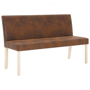 Bench 139.5 cm Brown Faux Suede Leather