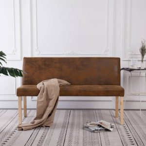 vidaXL Bench 139.5 cm Brown Faux Suede Leather