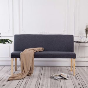 vidaXL Bench 139.5 cm Dark Grey Polyester
