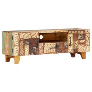 vidaXL Hand Carved TV Cabinet 120x30x40 cm Solid Reclaimed Wood
