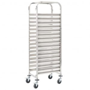 vidaXL Kitchen Trolley for 16 Trays 65.5×48.5×165 cm Stainless Steel