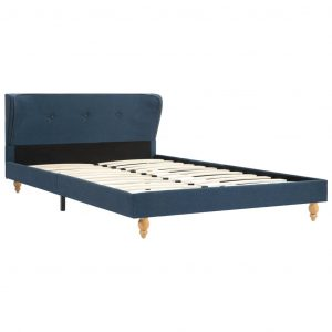 Bed Frame Blue Fabric 106×203 cm King Single