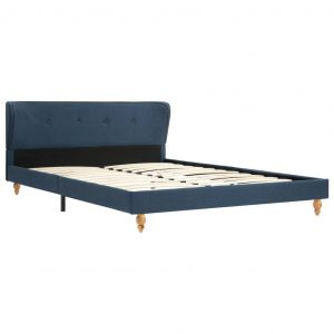 Bed Frame Blue Fabric 137×187 cm Double