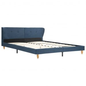 Bed Frame Blue Fabric 153×203 cm Queen