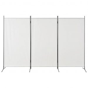 280267 vidaXL 3-Panel Room Divider White 260×180 cm