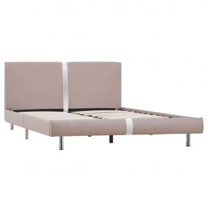 Bed Frame Cappuccino Faux Leather Double