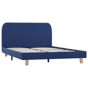 Bed Frame Blue Fabric Double