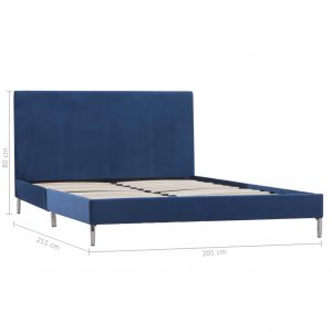 Bed Frame Blue Fabric King