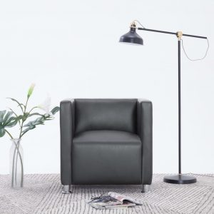 vidaXL Cube Armchair Grey Faux Leather