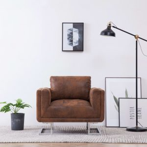 vidaXL Cube Armchair Brown Faux Suede Leather