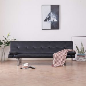vidaXL Sofa Bed with Two Pillows Brown Faux Leather