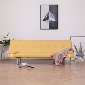 vidaXL Sofa Bed with Two Pillows Yellow Polyester