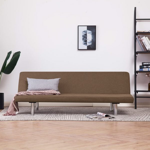 vidaXL Sofa Bed Brown Polyester