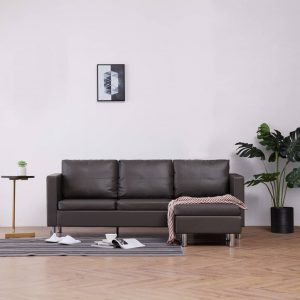 vidaXL 3-Seater Sofa with Cushions Grey Faux Leather