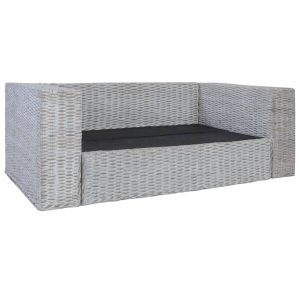 2-Seater Sofa with Cushions Grey Natural Rattan