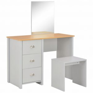 vidaXL Dressing Table with Mirror and Stool Grey 104x45x131 cm