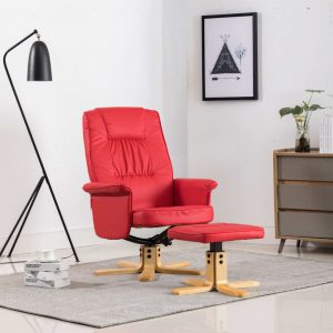 vidaXL Armchair with Footrest Red Faux Leather