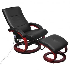 vidaXL TV Massage Chair with Footstool Black Faux Leather