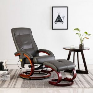 vidaXL Massage Recliner with Footstool Grey Faux Leather