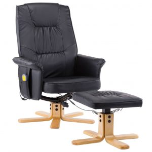 TV Massage Recliner with Footstool Black Faux Leather