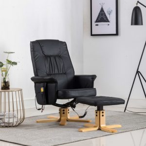 vidaXL TV Massage Recliner with Footstool Black Faux Leather