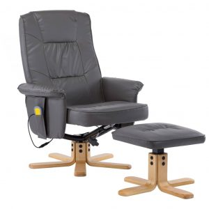 TV Massage Recliner with Footstool Grey Faux Leather