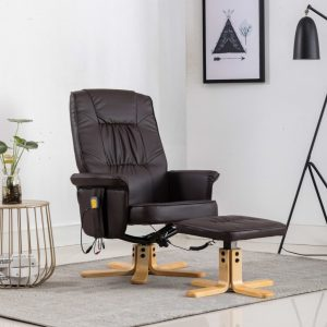 vidaXL TV Massage Recliner with Footstool Brown Faux Leather