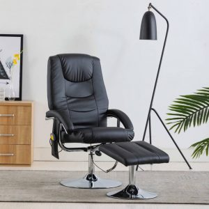 vidaXL Massage Recliner with Footstool Black Faux Leather