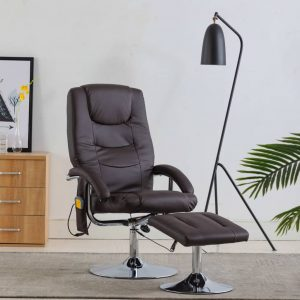 vidaXL Massage Recliner with Footstool Brown Faux Leather