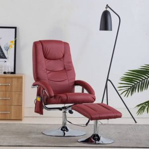 vidaXL Massage Recliner with Footstool Wine Red Faux Leather