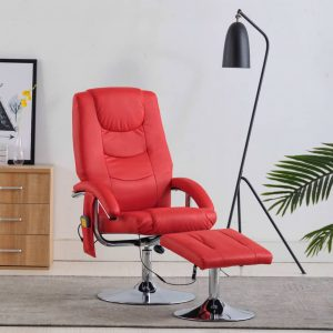 vidaXL Massage Recliner with Footstool Red Faux Leather