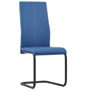 Dining Chairs 2 pcs Blue Faux Leather