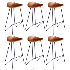 vidaXL Bar Chairs 6 pcs Brown Real Leather