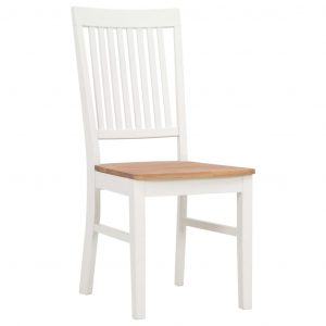 Dining Chairs 6 pcs White Solid Oak Wood