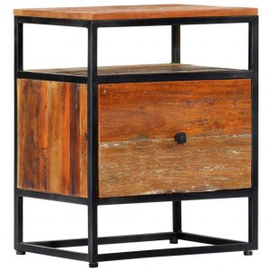 vidaXL Bedside Cabinet 40x30x50 cm Solid Reclaimed Wood and Steel