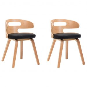 Dining Chairs 2 pcs Black Bent Wood and Faux Leather