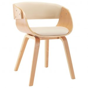 Dining Chair Cream Bent Wood and Faux Leather