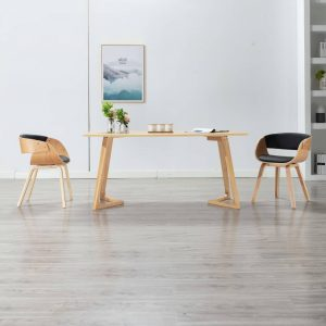 vidaXL Dining Chair Black Bent Wood and Faux Leather