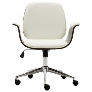 Office Chair White Bent Wood and Faux Leather