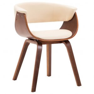 vidaXL Dining Chair Cream Bent Wood and Faux Leather