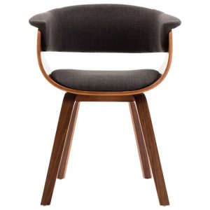 Dining Chair Grey Bent Wood and Fabric