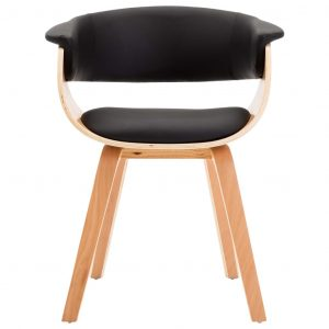 Dining Chair Black Bent Wood and Faux Leather