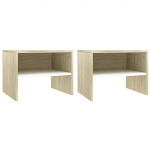 Bedside Cabinets 2 pcs White and Sonoma Oak 40x30x30 cm Chipboard