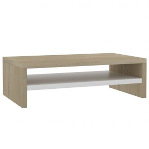 Monitor Stand White and Sonoma Oak 42x24x13 cm Chipboard
