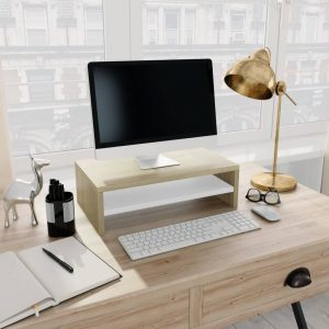 vidaXL Monitor Stand White and Sonoma Oak 42x24x13 cm Chipboard