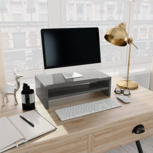 vidaXL Monitor Stand High Gloss Grey 42x24x13 cm Chipboard