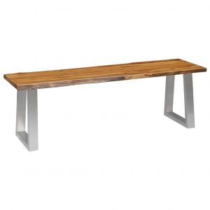 vidaXL Bench 140 cm Solid Acacia Wood and Stainless Steel