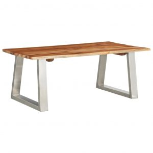 vidaXL Coffee Table 100x60x40 cm Solid Acacia Wood and Stainless Steel