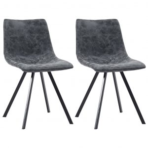 vidaXL Dining Chairs 2 pcs Black Faux Leather