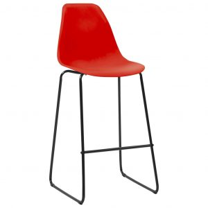 Bar Chairs 2 pcs Red Plastic